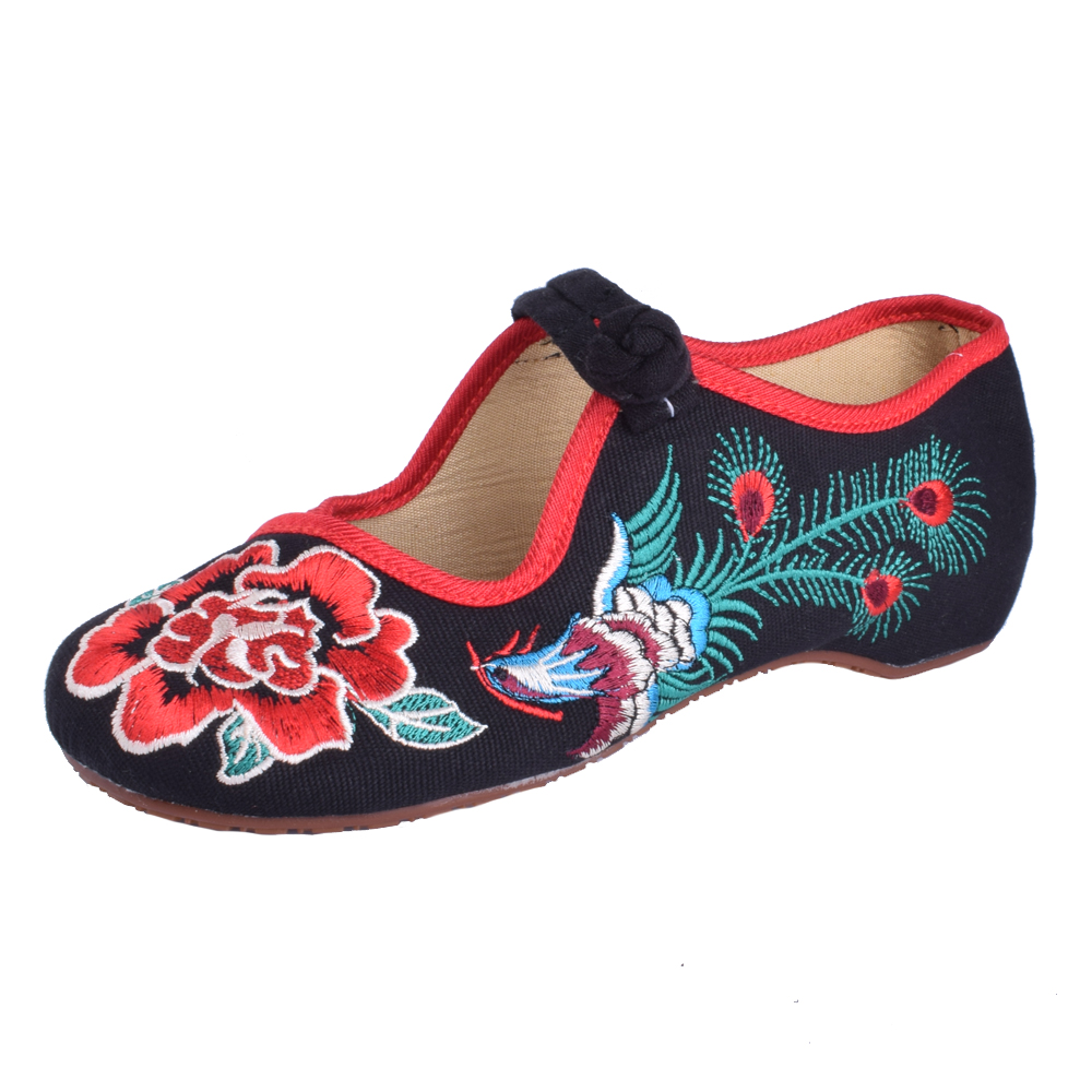 Rose De Pekín Bordado Phoenix Jane Mujer Tamaño Ballet Zapatos 41 Suave Pisos Plana Chino Mujeres Mary Más Negro rojo Suela Viejo zxF887
