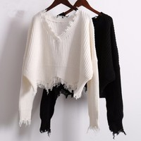 TWOTWINSTYLE Ripper Shorts Knitted Sweater Women Autumn Winter V Neck White Losse Female Jumpers Pullovers Casual