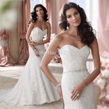 цена на Top Selling Sweetheart Trumpet Mermaid Lace Wedding Dresses Applique Beads Sequin Pleats Bridal Gowns yk1A320