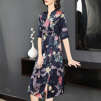 Silk Women Dresses 2019 New Summer Half Sleeve High Quality Print Female Dresses Vintage Large Size Waist Long Dresses