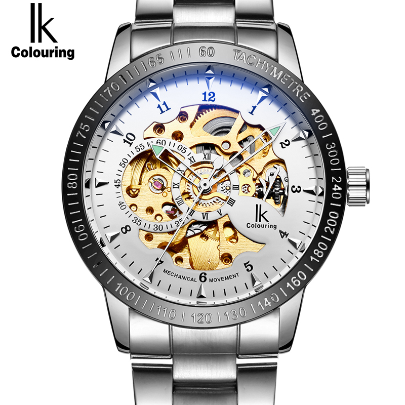 IK colouring Stainless Steel Luminous Automatic Mechanical Watches Men Brand Luxury Transparent Hollow Skeleton Military Watch tevise men black stainless steel automatic mechanical watch luminous analog mens skeleton watches top brand luxury 9008g