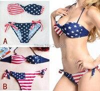 Sexy Women Estrelas Verão E Listras Da Bandeira DOS EUA Bikini Padded Twisted Bandeau Tubo American Swimwear Define OL203