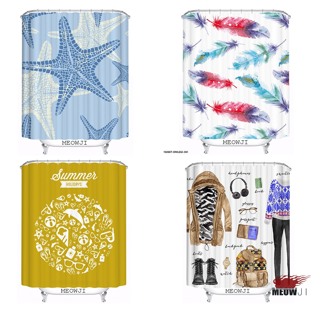 Starfish feather fashion custom Shower Curtain Bathroom decor various sizes Free Shipping