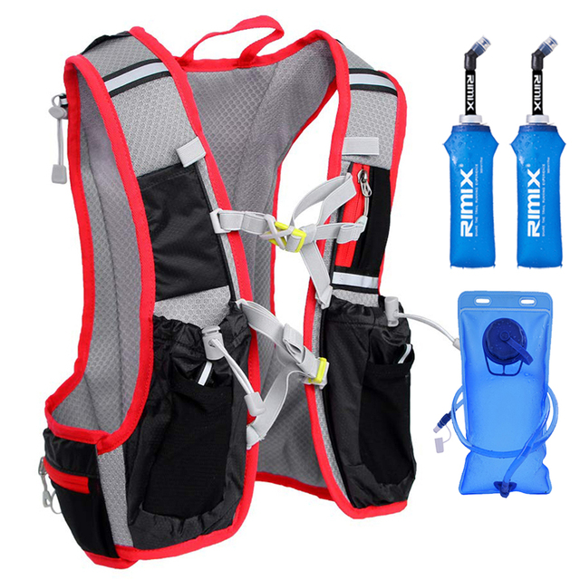 Men Women Running Backpack 15L XL Outdoor Sports Trail Racing Hiking Marathon Fitness Hydration Vest Pack 2L Bag 500ml Kettle