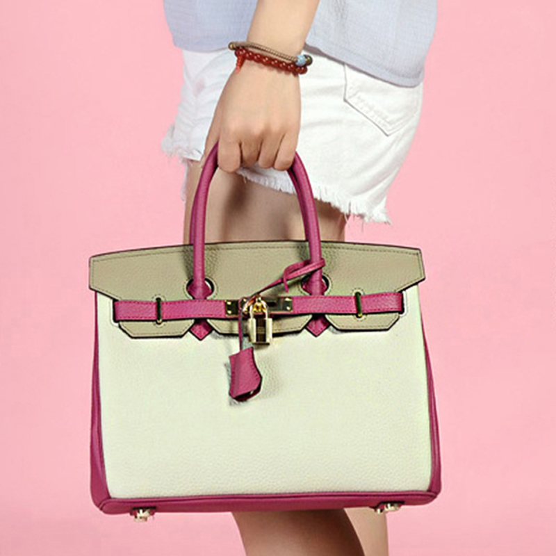 2018 Fashion Women Handbags Genuine Leather Litchi Pattern Casual Tote Bags Lock Patchwork Shoulder Bags Ladies Crossbody Bags keytrend new vintage women shoulder crossbody bags litchi pattern zipper ladies totes handbags solid simple small square ksb302
