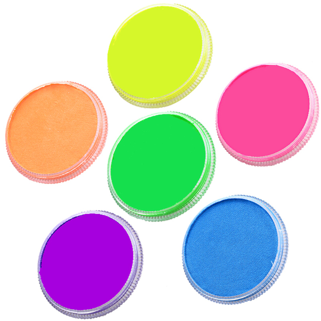 6 Colors Neon Body Paint Face Painting Drawing Pigment 30g Water Based Makeup Purple Green Yellow Uv Glow