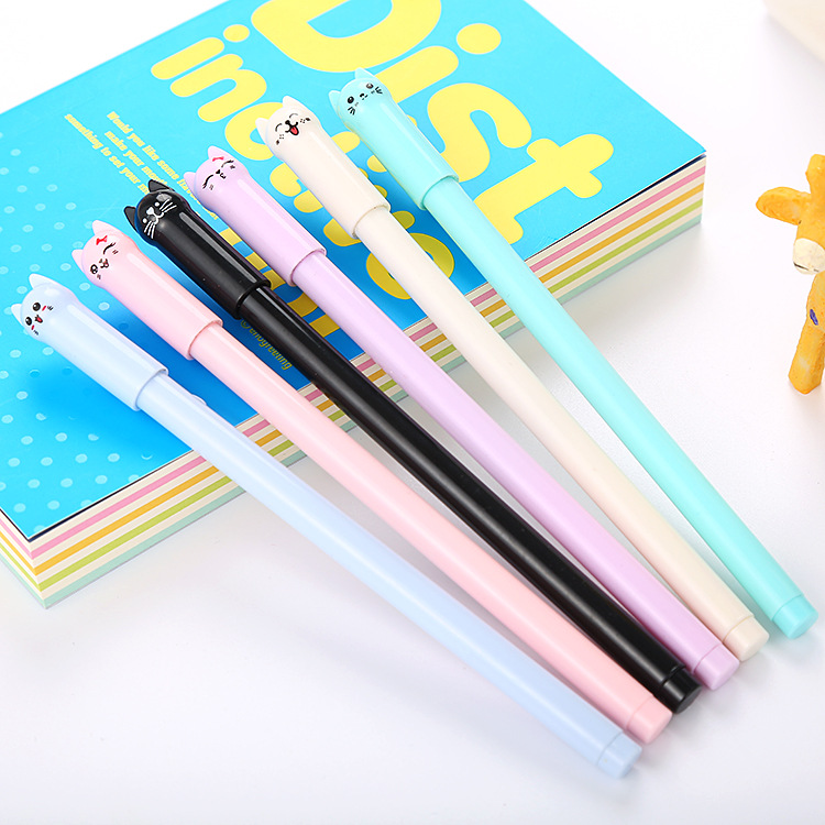 1 Pcs Creative Pen Hat Cat Cartoon Neutral Pen Cute Cat Learning Stationery Office Water-based Signature Pen Kawaii School