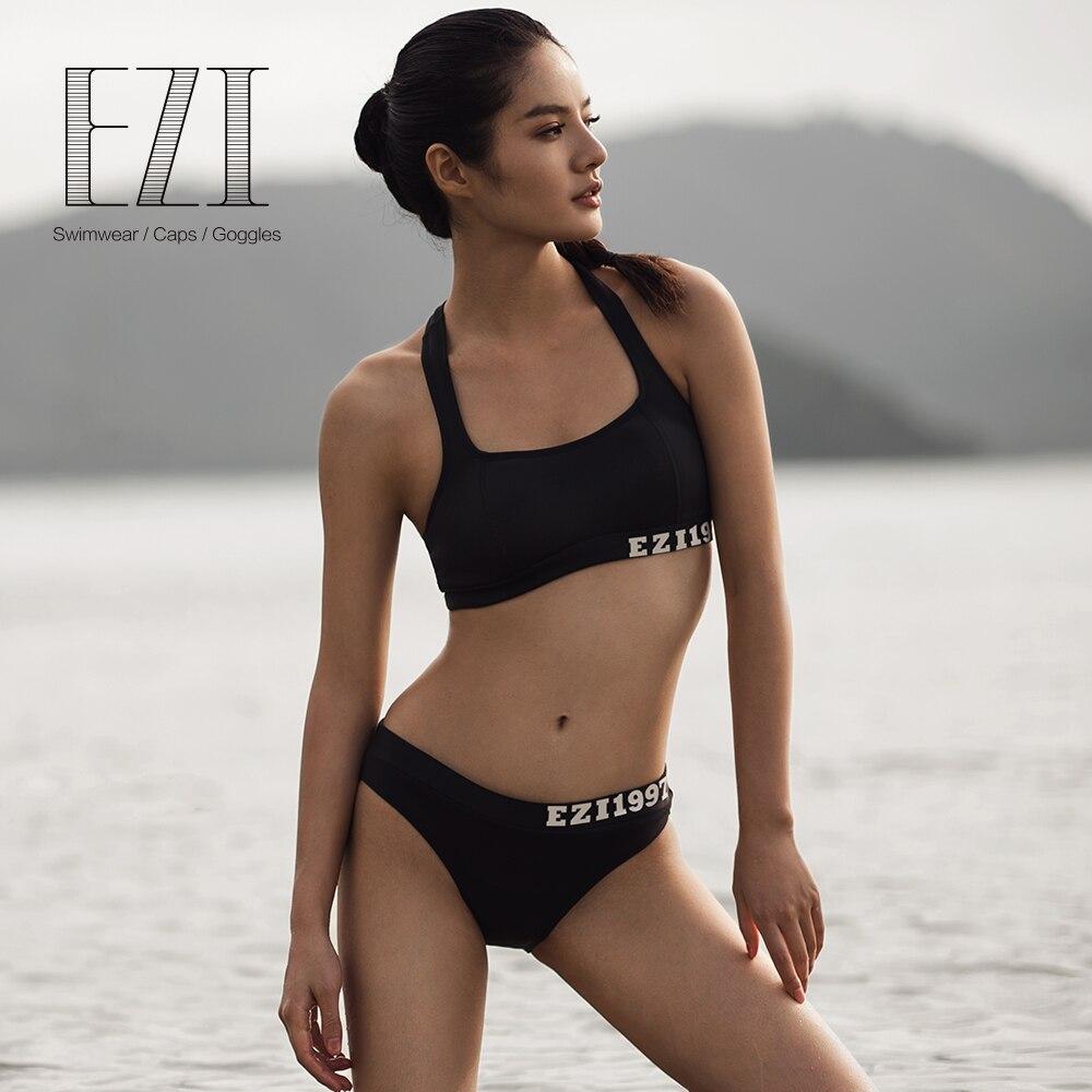 Juillet sable noir SEXY FEMMES néoprène récolte et taille basse brèves sport bikini ensemble