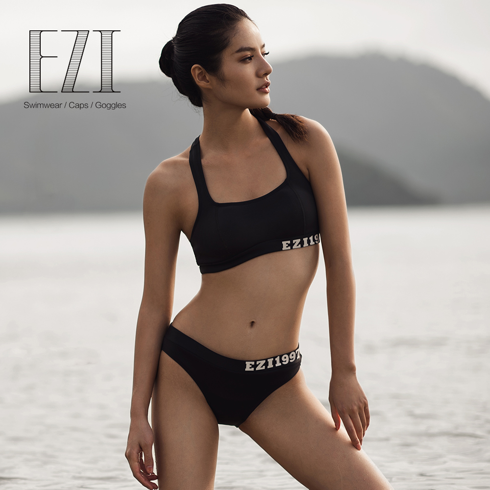 july sand black SEXY WOMEN neoprene crop and low waist brief sports bikini set july sand beige halter neck crochet front balcony and brief sexy 2189 latest bikini set