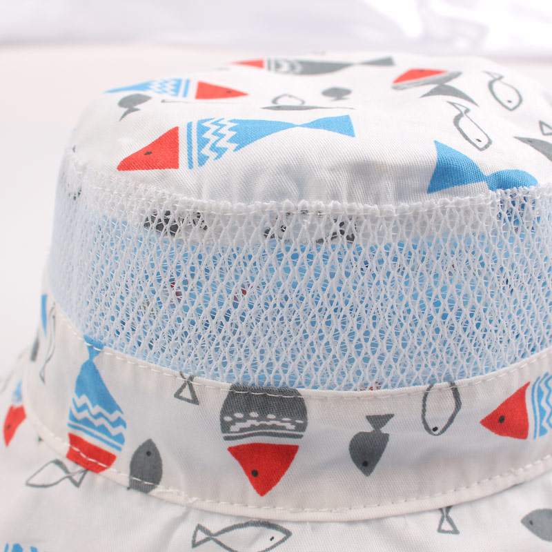 Reversible Mesh Baby Bucket Sun Hat Infant Boys Girls Summer UV Protection Cap with Wide Brim Fashion Cotton Bonnet Chinstrap Stay On (10)