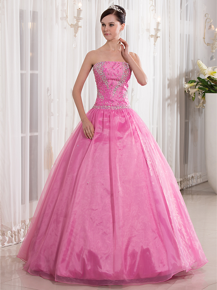 Ball Gown Pink Strapless Junior Prom Dresses Floor Length Beaded ...