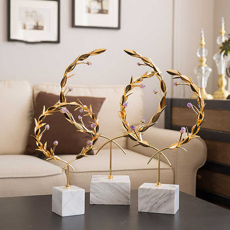 Euro Metal Crafts Creative Olive Branches Figurines Ornaments White Marble Sculpture Home Decoration Wedding Gifts Furnishings