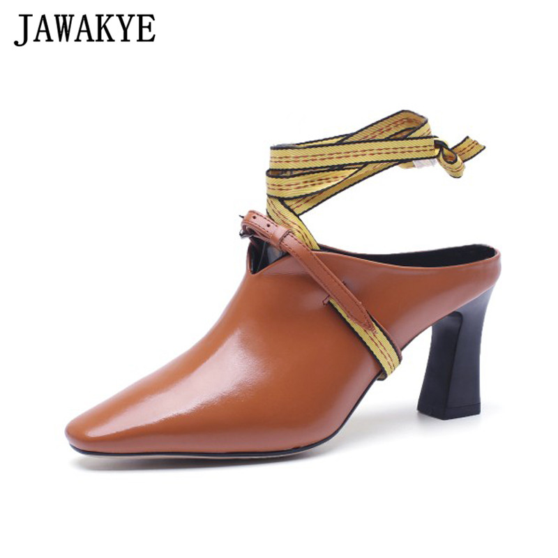 Fetish summer shoes women genuine leather high heels bandage cross tied sandals 2018 pointy toe pumps