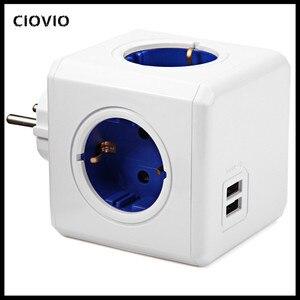 Image 1 - Smart Home Power Cube Socket EUปลั๊ก4เต้าเสียบ2พอร์ตUSB Adapter Power Strip Extension Adapter Multi Switchedซ็อกเก็ต