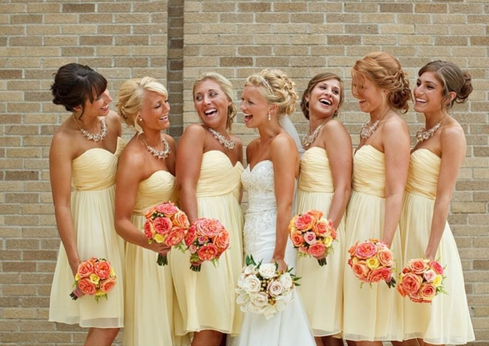 Online Buy Wholesale light yellow bridesmaid dresses from China ...
