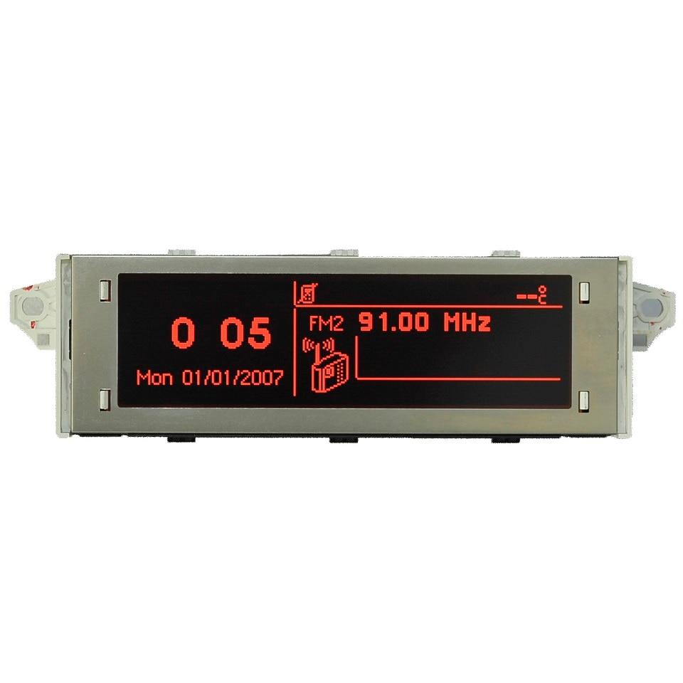 Écran de voiture support USB et Bluetooth Affichage rouge moniteur 12 broches Convient 307 207 408 C4 C5 Rouge Écran 12 broches