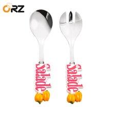 ORZ Creative Salad Tableware Set Fruit Vegetable Ice Cream Dinnerware Resin Handle Fork Scoop Travel Kids Adult Cutlery Gift