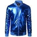 Nueva Tendencia Metálica Azul Chaqueta de Los Hombres/Mujeres Bomber Veste Homme 2016 Discoteca de Moda Delgado Cremallera de Béisbol Del Equipo Universitario chaqueta