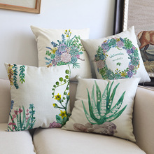 Succulent Plant Cushion Cover Green Leaf Leaves Almofada Cactus Throw  Pillow Case For Sofa Couch Country