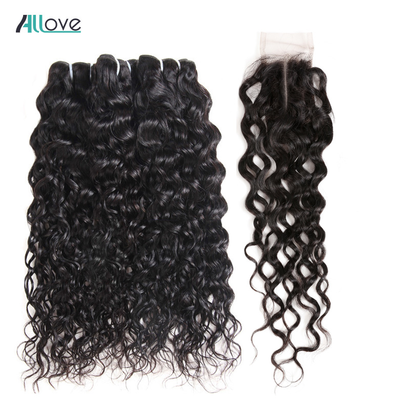 Brazilian Water Wave Bundles With Closure Affordable Bundles With Closure 100 Human Hair Weave With Closure