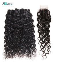 Brazilian Water Wave Bundles With Closure Affordable Bundles With Closure 100% Human Hair Weave With Closure Allove Non Remy(China)