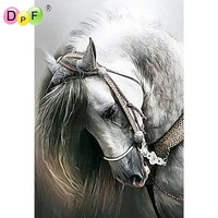 Free Shipping 3D DIY Diamond Painting Cross Stitch Lower The Head Of A White Horse Kit