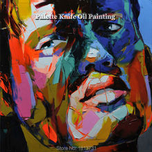 Hand painted Francoise Nielly Palette knife portrait Face Oil painting Character figure canva wall Art picture12-28