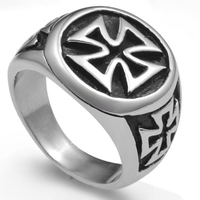 Size 7 15 Stainless Steel Military Biker Crusade Cross Ring Dad Husband Christmas Gift