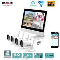 DAYTECH Wireless NVR Kits Video Surveillance System HDD 1TB Waterproof Home CCTV Security 4x960P Night Vision