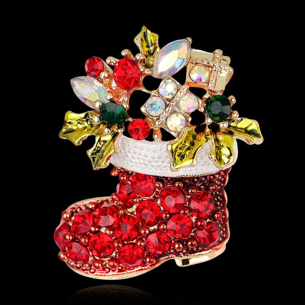 Jujie Natal Merah Sepatu Boots Wanita Bros Bros untuk Wanita 2019 Warna Emas Rhinestone Bros Pin Hadiah
