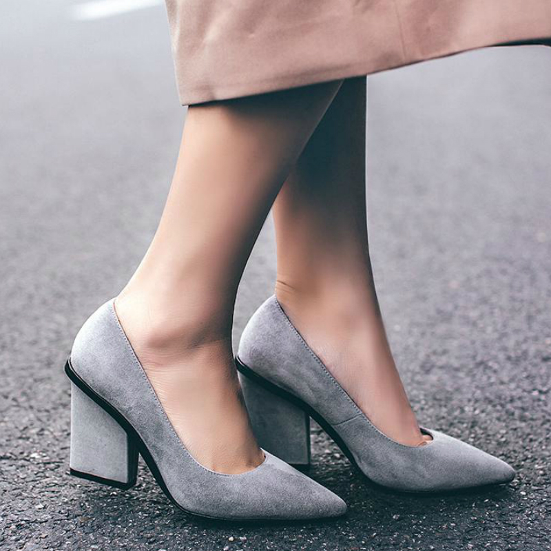 2017 New Women Brand Spring Shoes Thick High Heels Pointed Toe Women Pumps Shallow Party Office Lady Wedding Shoes High Quality 2017 new fashion brand spring shoes large size crystal pointed toe kid suede thick heel women pumps party sweet office lady shoe