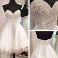 New Spring Design A-line Sweetheart Organza Mini Length Beaded Crystal Short Custom Made Wedding Dresses Bridal Gown 2016