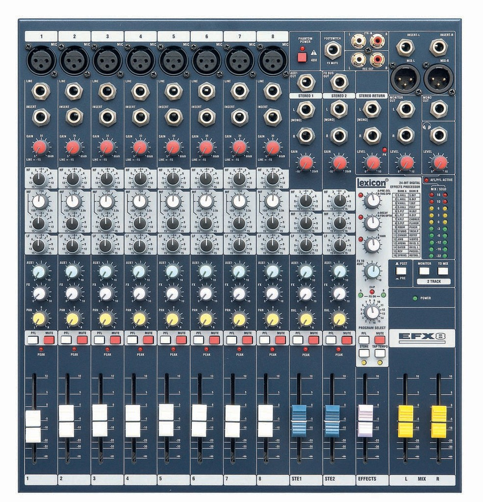 Free Shipping High Quality EFX8 Live Sound Mixer 8 Mono 2 Stereo ch Mixer with Built