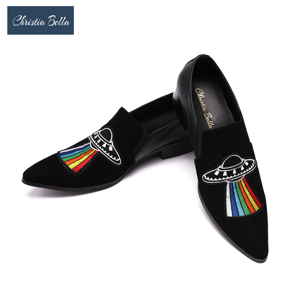 Christia Bella Handmade Men Flats Velvet Shoes with Luxurious Embroidery Leather Party and Banquet Men Loafers Plus Size 38-47 piergitar 2016 new india handmade luxurious embroidery men velvet shoes men dress shoes banquet and prom male plus size loafers