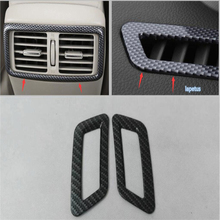 цена на Carbon Fiber Style For Nissan X-Trail T32 Rogue 2014 2015 2016 ABS Front + Rear Air Conditioning AC Outlet Vent Cover Kit Trim