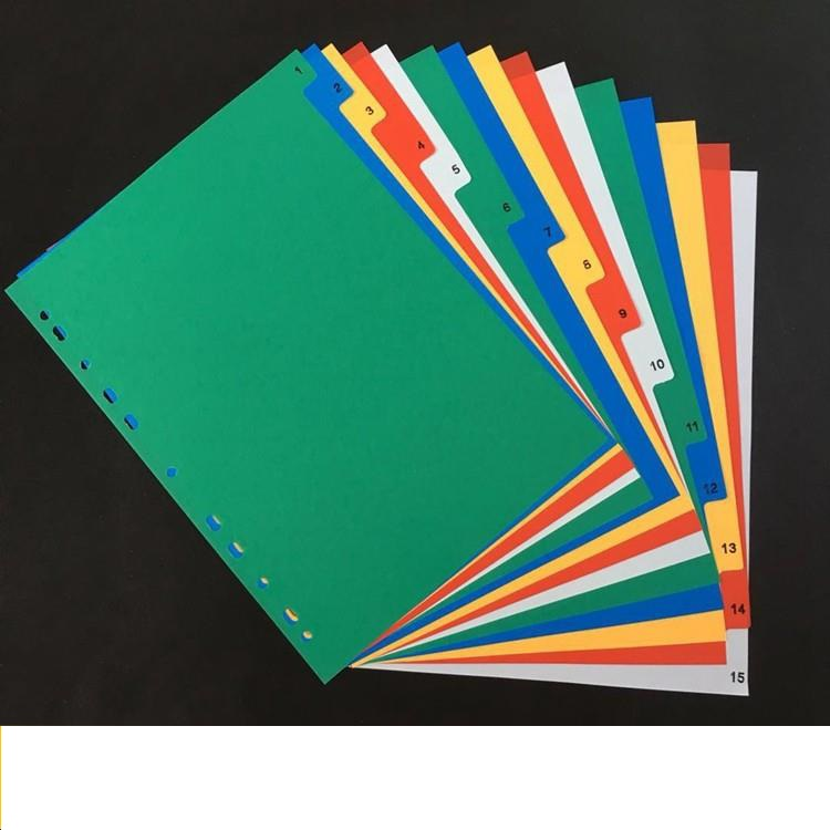 A4  15pages Color Index Divider 11Holes Archives Files Classify Paper Plastic
