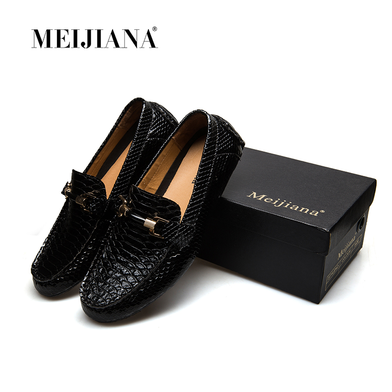 MEIJIANA Causal Shoes Genuine Cow leather Mens Loafers Fashion Handmade Moccasins Slip On Black Mens Boat Shoes ...