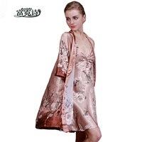 2 Parça Set Kadın Sahte Ipek Kimono Elbiseler Seksi Iç Çamaşırı Kadın Düğün Parti Nedime Robe Saten Gecelik Bornoz Pijama