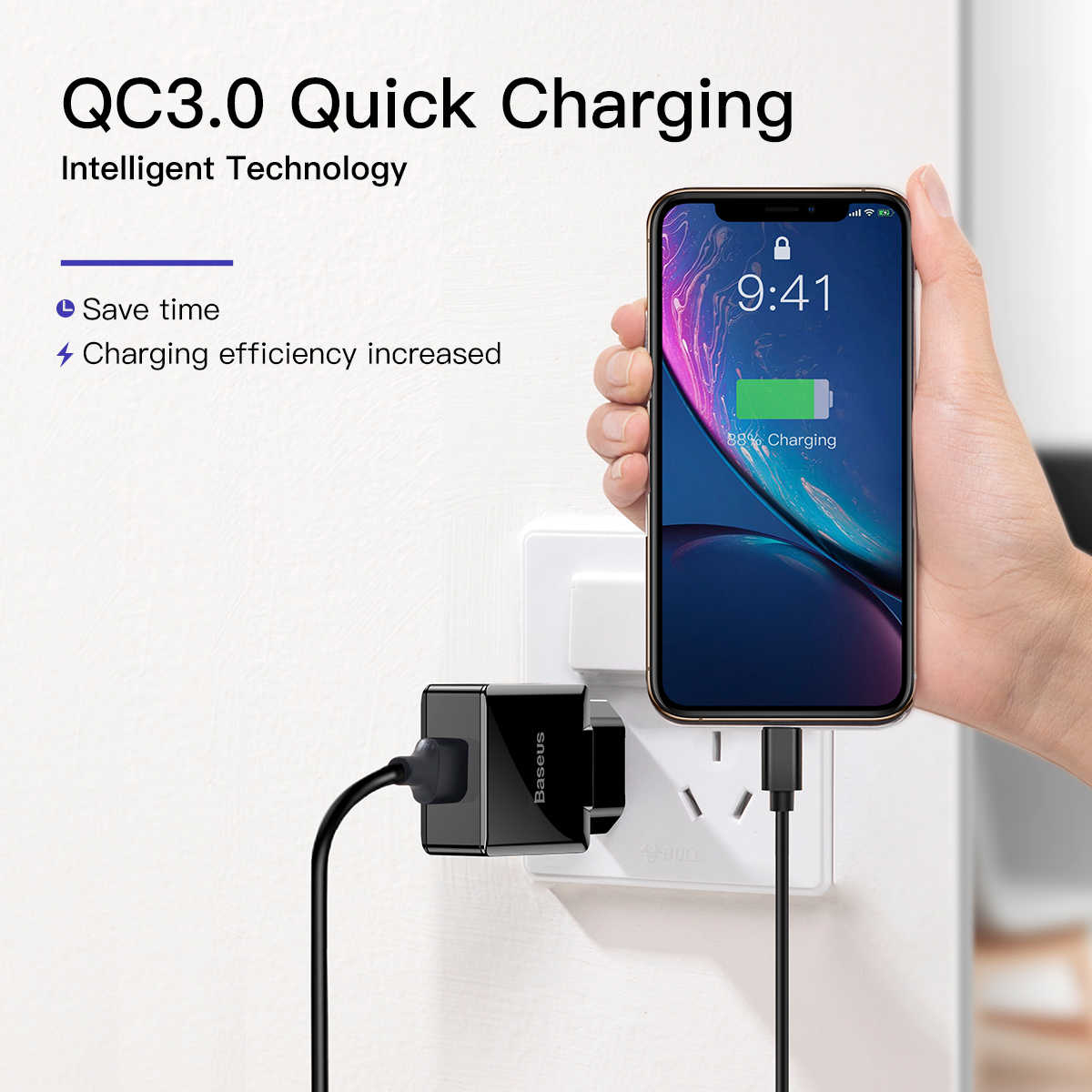 Baseus Quick Charge 3.0 2.0 Usb Charger Voor Iphone Xiaomi Samsung Huawei QC3.0 Qc Snel Charing Turbo Muur Mobiele Telefoon lader