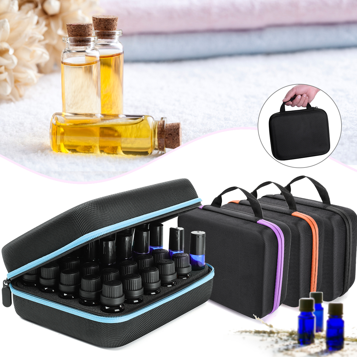 Essential Oil Case 30 Bottles 5ML10ML 15ML Perfume Oil Essential Oil Box Travel Portable Carrying Holder Nail Polish Storage Bag
