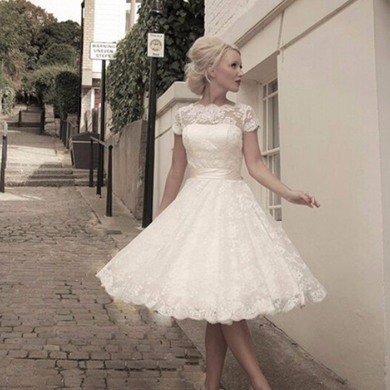 Free shipping see through vintage inspired custom made for Vintage inspired lace wedding dresses