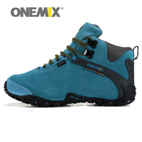 ONEMIX Waterproof Leather Hiking Shoes Trekking Boots Anti Skid Warm Resistant Breathable Sport Shoes Mountain Climbing
