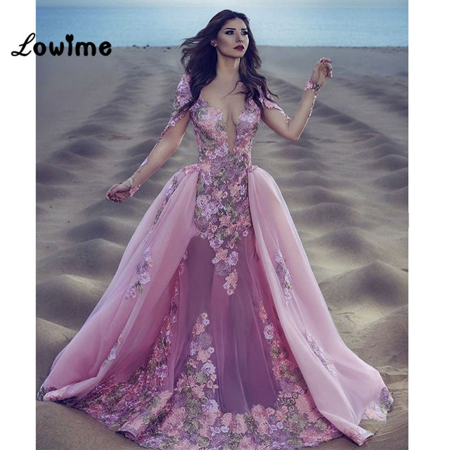 3d04b6938a1 Sexy Burgundy Pink Lace Long Sleeve Mermaid Gala Prom Dress Detachable  Removable Skirt Indian Floral Prom Evening Dresses Jurken