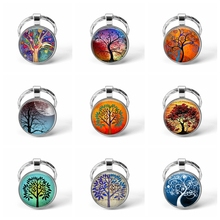 Rainbow Tree of Life Keychain Colorful Glass Cabochon Keyring Jewelry Pendant Metal Key Chain Rin