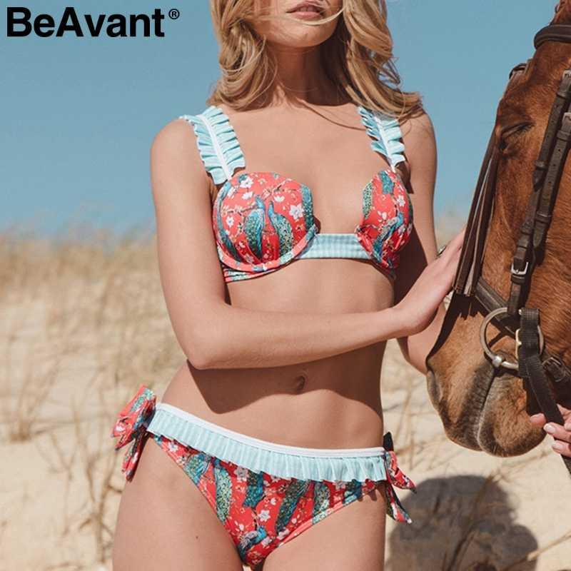 BeAvant Floral verano 2 piezas de ropa de mujer de correa sexy traje de baño de traje de baño para playa trajes de baño