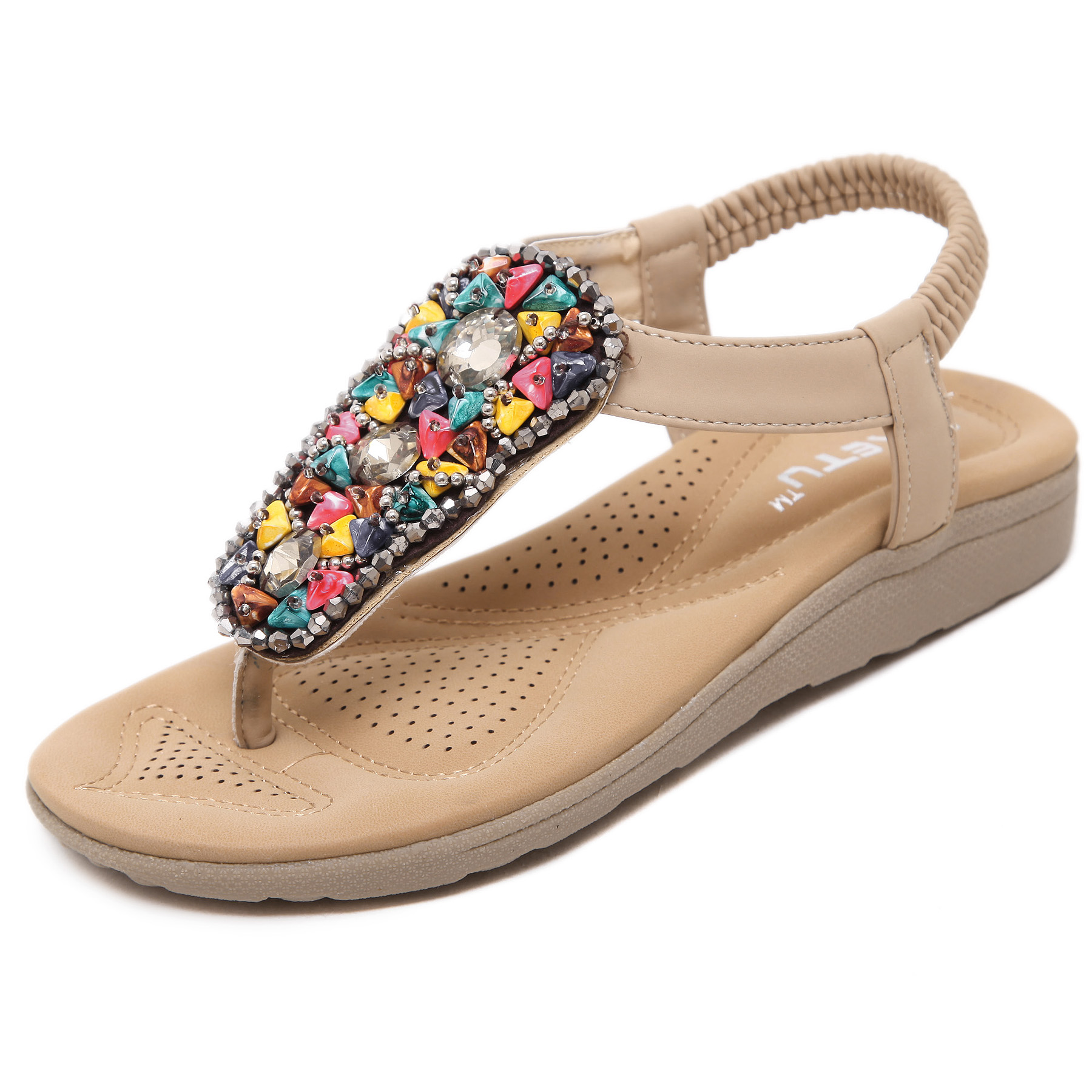 2017 New Summer Flat Sandals Summer Beads Bohemia Beach Flip Flops Women Shoes Sandles Zapatos Mujer Sandalias Shoes Woman zrx400 zxr400 zxr250 kle400 kle250 сандерс спереди и сзади поверните сигнал поворота