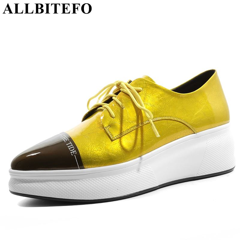 ALLBITEFO genuine leather mixed colors women flats sneakers shoes pleated pointed toe platform shoes lace up