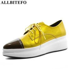 ALLBITEFO genuine leather mixed colors women flats sneakers shoes pleated pointed toe platform shoes lace-up spring women flats цены онлайн