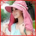 Мода леди открытый вс защитной шляпа комаров * съемный колпачок шляпа солнца летом анти-уф широкими полями козырек крышки для женщин