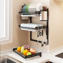New Stainless Steel Kitchen Dish Rack Plate Cutlery Cup Dish Drainer Drying Rack Wall Mount